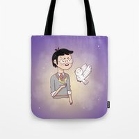 hedwig Tote Bags featuring Magical friends by HypersVE
