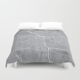 Syracuse Map, New York USA - Pewter Duvet Cover