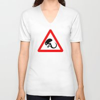 prometheus V-neck T-shirts featuring Baby on board by dutyfreak