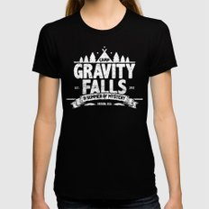 Camp Gravity Falls  Black MEDIUM Womens Fitted Tee