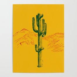 green cactus, yellow desert Poster