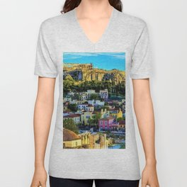Daytime view of the Acropolis ruins; Athens, Greece Unisex V-Neck