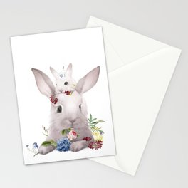 Bunny and Mom, Floral Easter Rabbit Stationery Cards