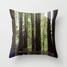 Northern California Redwood Forest Pixelart Throw Pillow