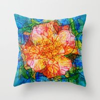 quibe Throw Pillows featuring Flower III by Magdalena Hristova