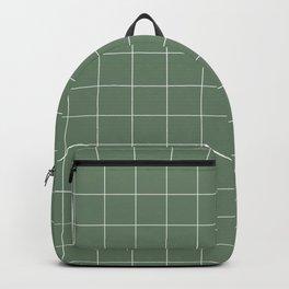 Windowpane Check Grid (white/sage green) Backpack
