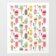 Ice Cream tropical summer spring central park new york city geometric food sweet treat dessert Art Print