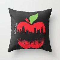 new york Throw Pillows featuring NEW YORK, NEW YORK by mark ashkenazi