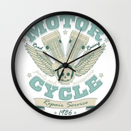 Vintage Retro Motorcycle Engine Mechanic Gift Wall Clock