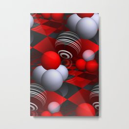 3D pattern  in red, white and black -01- Metal Print