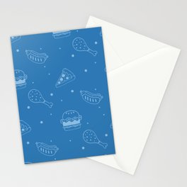 Fast Food Snacks Attack - Pizza Pie Hot Dogs Chicken Wings! on Blue Stationery Cards