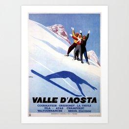 Aosta Valley winter sports Art Print