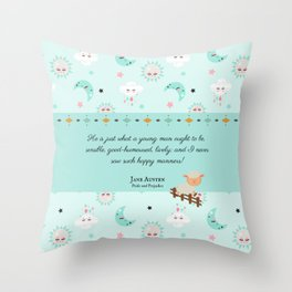 Just What a Young Man Ought to Be (Pride and Prejudice Quote) Throw Pillow