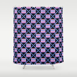 Cornflower Blue, Carnation Pink, Lavender Purple Kente Cloth on Black Shower Curtain