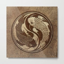 Yin Yang Koi Fish with Rough Texture Effect Metal Print