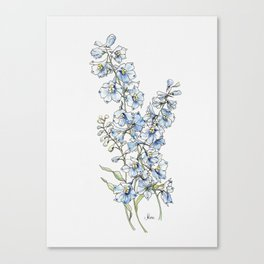 Blue Delphinium Flowers Canvas Print
