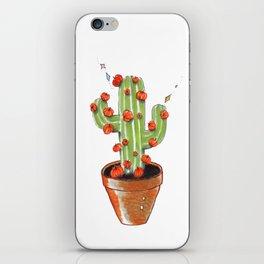 Cactus blooming with pumpkins, original copic drawing iPhone Skin