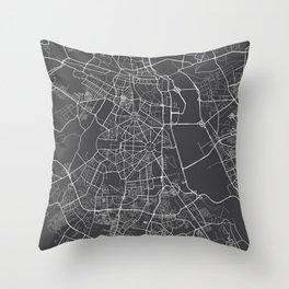 Delhi Map, India - Gray Throw Pillow