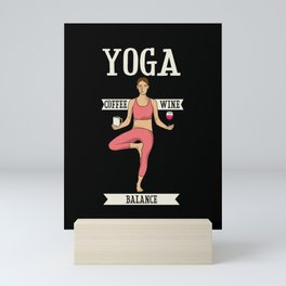 Yoga Balance Coffee & Wine Mini Art Print