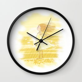 Little Girl In The Wind - Artwork that re-visits your favorite childhood memories Wall Clock