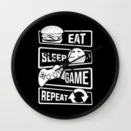 Eat Sleep Game Repeat | Video Game Console Gaming Wall Clock