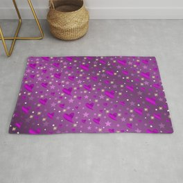 purple shiny stars and metal structure lilac sweet hearts Rug