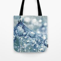 mandie manzano Tote Bags featuring Sparkling Dandy in Blue by Sharon Johnstone