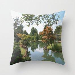 Japanese Gardens Pond Throw Pillow