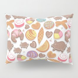 Mexican Sweet Bakery Frenzy // white background // pastel colors pan dulce Pillow Sham