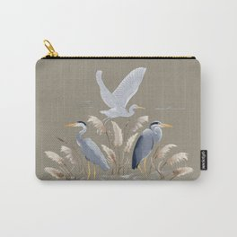 Great Blue Heron - Tan and Gray Carry-All Pouch