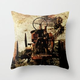 Scrap Tractor Throw Pillow