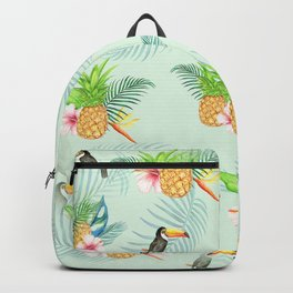 Tropical Pattern - monstera & toucans 9 Backpack