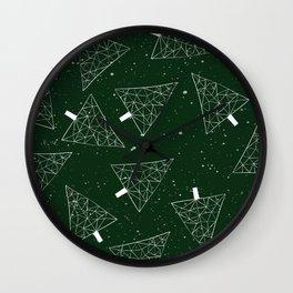 Christmas Trees Green Wall Clock