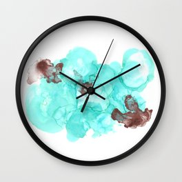 blue/aqua - alcohol ink Wall Clock