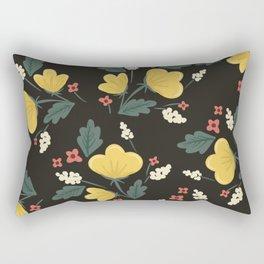 Gold and Black Floral Rectangular Pillow
