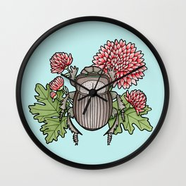 Beetle with Chrysanthemum - Blue Wall Clock
