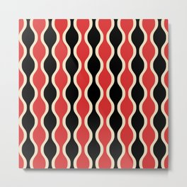 Classic Retro Ogee Pattern 937 Black and Red Metal Print