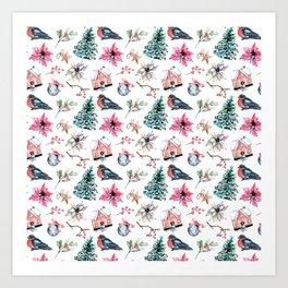 Christmas watercolor pattern. Art Print