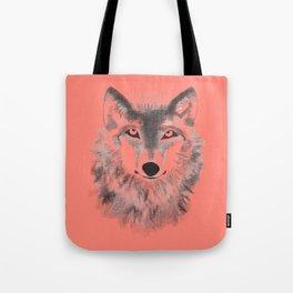 Wolf Face - Vermilion Tote Bag