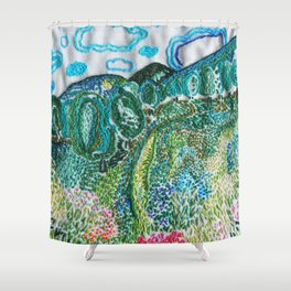 cheerful handmade embroidery in the digital world Shower Curtain