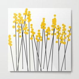 Hello Spring! Yellow/Black Retro Plants on White #decor #society6 #buyart Metal Print