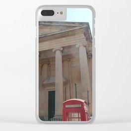 Red telephone box in Malta Clear iPhone Case