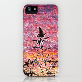 Leaf shadow at sunset iPhone Case
