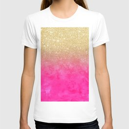 Modern girly gold glitter ombre fade neon pink watercolor T-shirt