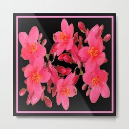 PINK FLOWER BLOSSOMS  BLACK SPRING ART Metal Print