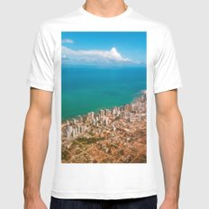 Sky, sea and buildings Mens Fitted Tee MEDIUM White