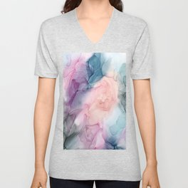 Dark and Pastel Ethereal- Original Fluid Art Painting Unisex V-Neck