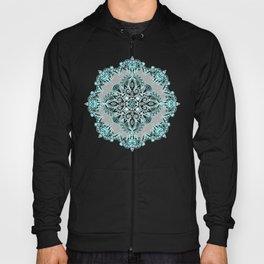 Teal and Aqua Lace Mandala on Grey Hoody