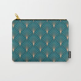 Vintage Art Deco Floral Copper & Teal Carry-All Pouch