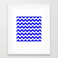 chevron Framed Art Prints featuring Chevron (Blue/White) by 10813 Apparel